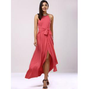 Backless Bridesmaid Prom Halter Swing Long Dress -