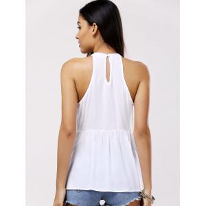 Sweet Sleeveless Round Collar Splice Cut-Out Blouse For Women -