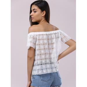 Fashionable Off-The-Shoulder Short Sleeves Cut-Out Lace Blouse For Women - WHITE XL