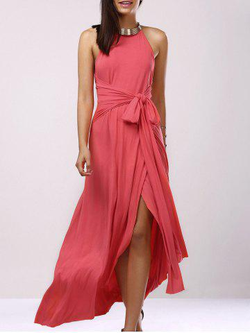 Affordable Backless Bridesmaid Prom Halter Swing Long Dress LIGHT PINK S