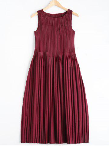 New Elegant Solid Color Scoop Neck Pleated Sleeveless Dress For Women