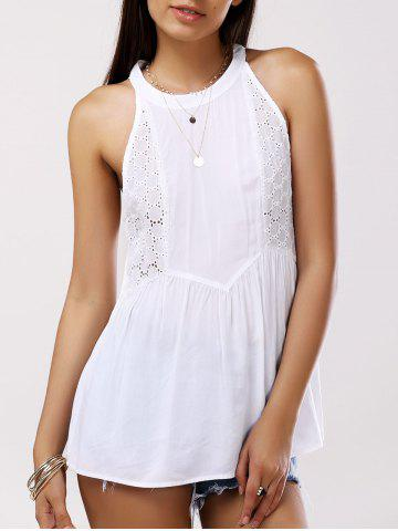 Shops Sweet Sleeveless Round Collar Splice Cut-Out Blouse For Women