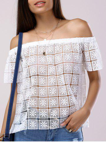 Trendy Fashionable Off-The-Shoulder Short Sleeves Cut-Out Lace Blouse For Women WHITE XL