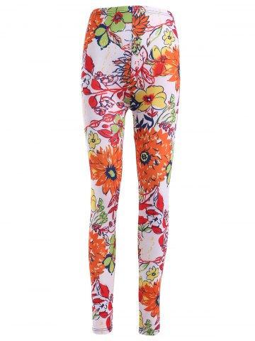Best Causal Floral Printing Elastic Waist Stretch Skinny Pants For Women