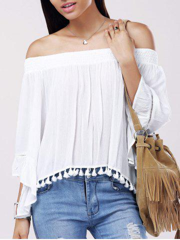 Affordable Casual Solid Color Boat Neck Fringe Bell Sleeves Blouse For Women
