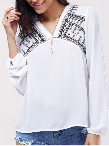 Unique Casual V-Neck Long Sleeves Embroidered Blouse For Women