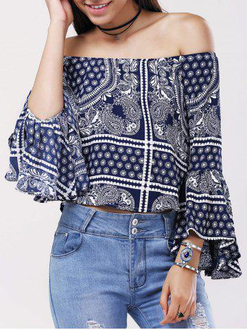 Cheap Ethnic Off The Shoulder Bell Sleeves Tribal Print Blouse For Women