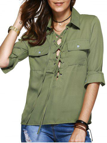 Shops Simple Design Long Sleeves Lace Up Blouse For Women