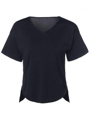 Discount Casual  Solid Color V-Neck Asymmetric Short Sleeves Knitted T-Shirt For Women