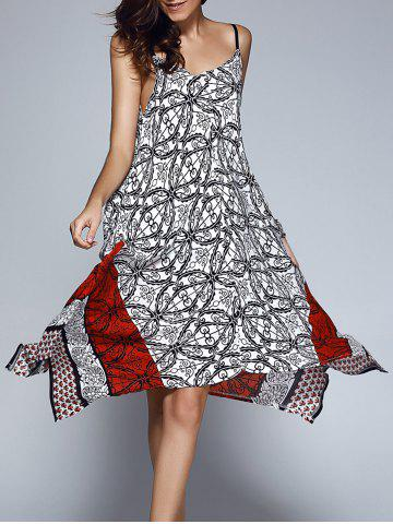 Chic Stylish Print Adjustable Strap Asymmetrical Hem Dress For Women