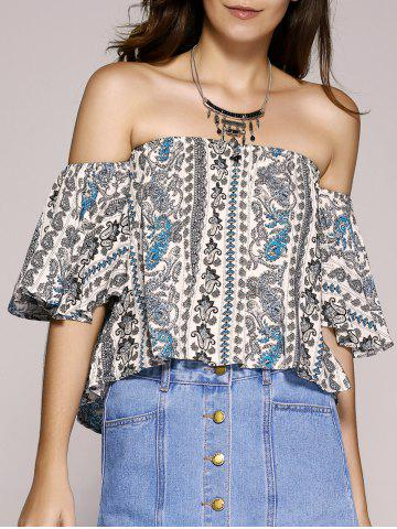 Outfits Ethnic Style Off The Shoulder Paisley Printed Crop Top For Women