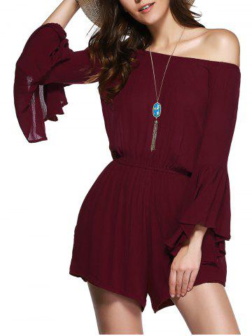 ONE SIZE(FIT SIZE XS TO M) WINE RED Off The Shoulder Bell Sleeves Romper For Women