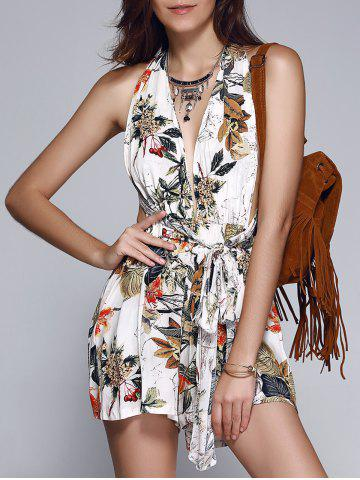 Shops Fashionable Tie Floral Print Backless Romper For Women