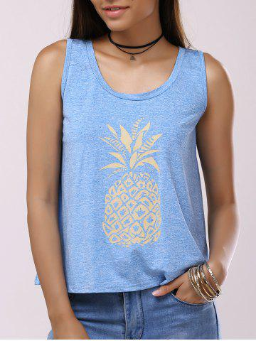 Sale Pineapple Print Back Split Casual Tank Top LIGHT BLUE XL