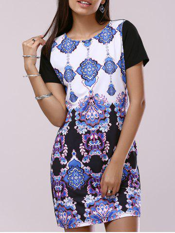 Unique Fashionable Short Sleeve Scoop Neck Printing Dress For Women