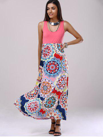 Affordable Bohemian U-Neck Splice Printing Dress For Woman - S LIGHT PINK Mobile
