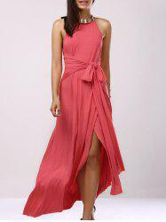 Backless Bridesmaid Prom Halter Swing Long Dress - LIGHT PINK S
