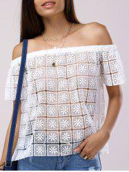 Fashionable Off-The-Shoulder Short Sleeves Cut-Out Lace Blouse For Women