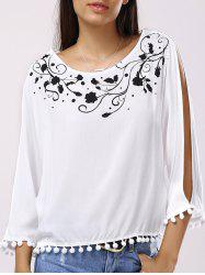 Casual Scoop Neck Printed Trim Blouse For Women -