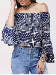 Ethnic Off The Shoulder Bell Sleeves Tribal Print Blouse For Women -