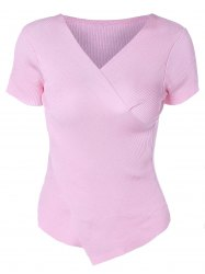 Stylish V-Neck Solid Color Asymmetric Short Sleeves Knitwear For Women -