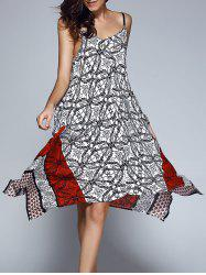 Stylish Print Adjustable Strap Asymmetrical Hem Dress For Women -