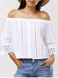 Fashionable Nine-Minute Sleeves Off-The-Shoulder Splice Cut-Out Lace Blouse For Women