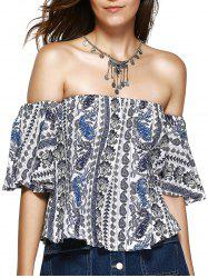 Ethnic Style Off The Shoulder Print Crop Top For Women -