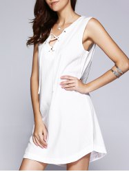 Simple Solid Color Lace Up Tank Dress For Women -