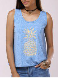 Pineapple Print Back Split Casual Tank Top - LIGHT BLUE XL