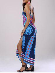 Fashionable Spaghetti Strap Back Drawstring Slit Printing Dress For Woman - COLORMIX XL