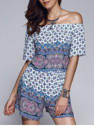 Ethnic Style Printed Off The Shoulder Crop Top + Shorts Twinset For Women -