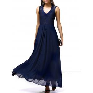 Lace Chiffon Sleeveless A Line Full Length Prom Dress - Deep Blue - 2xl