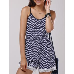 Lace Splicing Zigzag Pattern Cami Romper