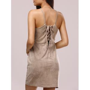 Crossback Faux Suede Cami Dress - Light Brown - S