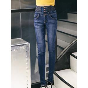 Bleach Wash Button Design Women's Jeans