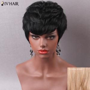 Manly Short Side Bang Women's Human Hair Capless Wig