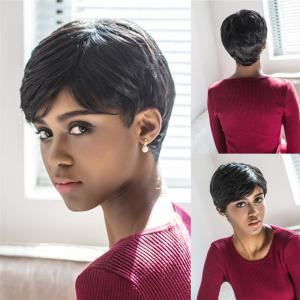Spiffy Short Pixie Cut Capless Straight Layered Black Synthetic Wig For Women