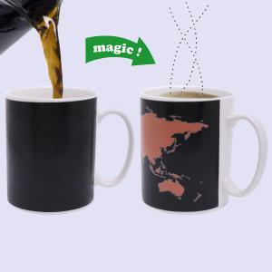 Amazing The World Map Pattern Ceramic Heat Sensitive DIY Color Changing Mug For Gifts - Black