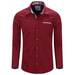 Turn-Down Collar Double Button Design Long Sleeve Shirt For Men