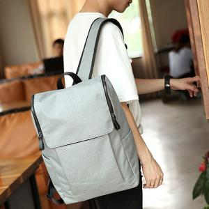 Casual Double Zips and Solid Color Design Backpack For Men - Light Gray