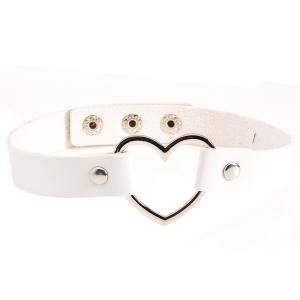 PU Leather Heart Choker Necklace - White