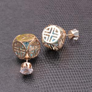 Double End Faux Zircon Hollowed Earrings