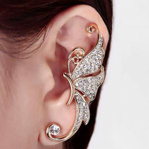 One Piece Rhinestone Butterfly Ear Cuff - White - 3xl