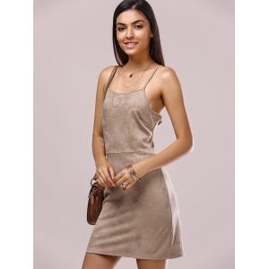 Crossback Faux Suede Cami Dress - LIGHT BROWN XL