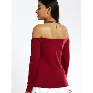 Off The Shoulder Lace-Up Long Sleeve Top -