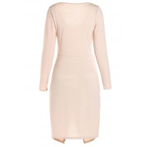 Long Sleeve Crossover Hem Bodycon Bandage Dress - PINK L