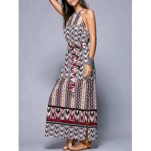 Bohemian Side Slit Belted Women's Dress - Colormix - Xl