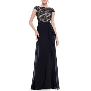 Maxi Lace Top Flounce Prom Evening Dress