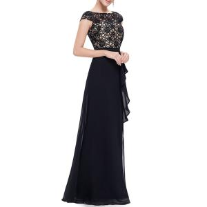 Maxi Lace Top Flounce Prom Evening Dress -